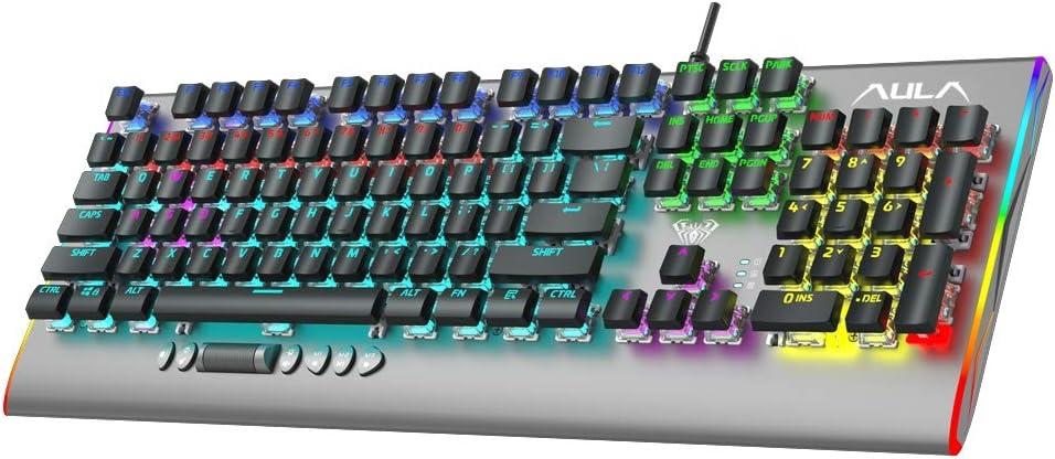 AULA F2099 Teclado Gaming Mecánico, con Retroiluminación RGB, Controles Multimedia, Panel Metal, Ultrafina Tapatecla, 104-Teclas Programable Wired PC ...