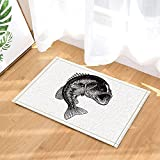 Hand Drawn Illustration Fish Decor Bass Jumping Out of the Water Bath Rugs Non-Slip Doormat Floor Entryways Indoor Front Door Mat Kids Bath Mat 15.7x23.6in Bathroom Accessories