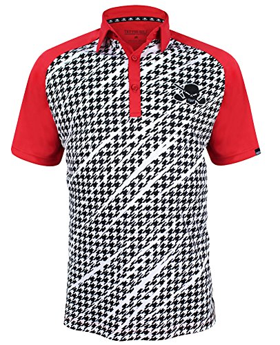 TattooGolf Houndstooth Print ProCool Men's Golf Shirt (Red) - Small