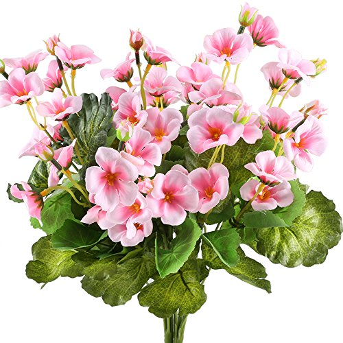 GTidea 2pcs Artificial Silk Begonia Fake Flower Faux Primroses Bouquet Arrangements DIY Home Garden Table Patio Wedding Party Christmas Decoration Pink (Lily Of The Valley Florist)