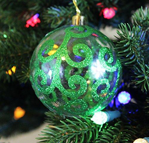 Festive Season Green Swirl Shatterproof Christmas Ball Ornaments, Tree Decorations (Set of 6, (Light Green Ball Ornament)