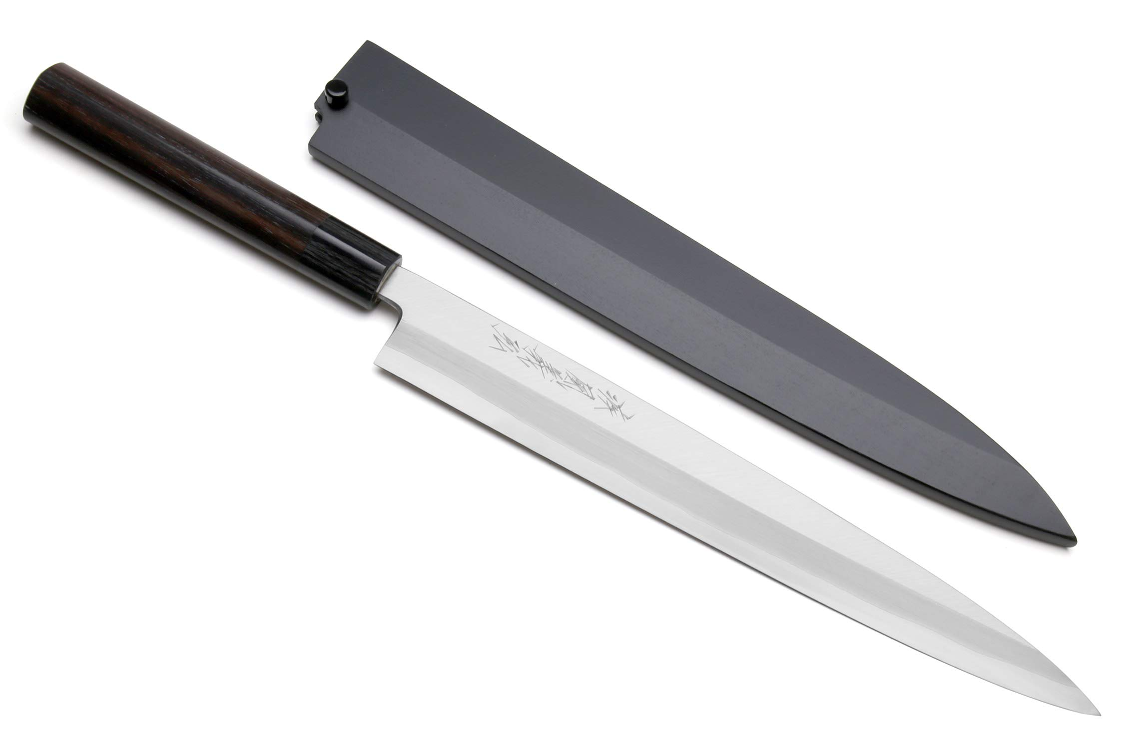 Yoshihiro Inox Stainless Steel Yanagi Sushi Sashimi Japanese Chef Knife Rosewood Handle with Nuri Saya Cover (11.8 IN)