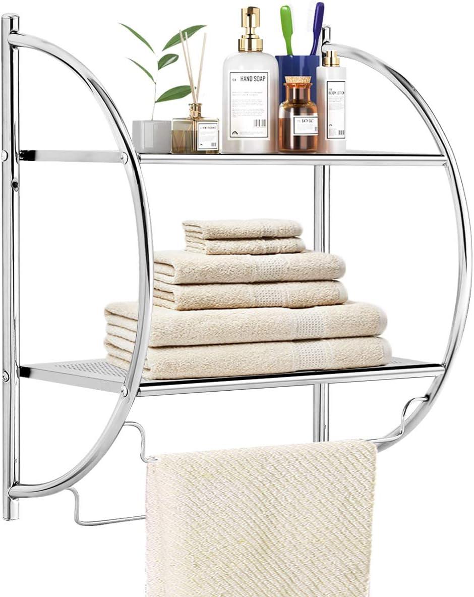 "TANGKULA Wall Mount 2 Tier Bathroom Shelf with Towel Bars, 18""W X 10""D X 22""H, Chrome Bathroom Shelf, Home Toilet Double Layer Storage Shelf, Rustproof Chrome Shelf, Towel Shelf - -"