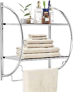 "TANGKULA Wall Mount 2 Tier Bathroom Shelf with Towel Bars, 18""W X 10""D X 22""H, Chrome Bathroom Shelf, Home Toilet Double Layer Storage Shelf, Rustproof Chrome Shelf, Towel Shelf"