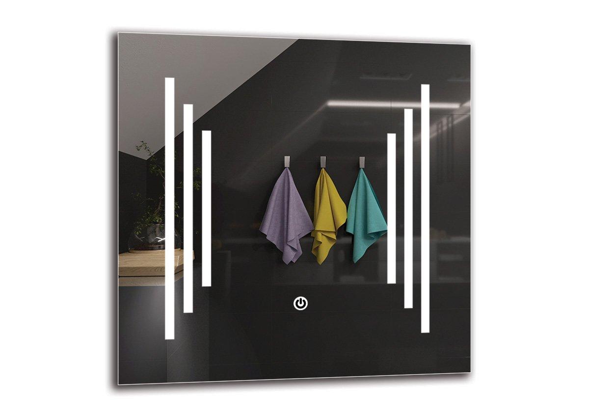 Specchio LED Deluxe - Dimensioni dello Specchio 40x40 cm - Interruttore tattile - Specchio per Bagno - Specchio a Muro - Specchio con Illuminazione - ARTTOR M1CD-02-40x40 - Bianco Caldo 3000K