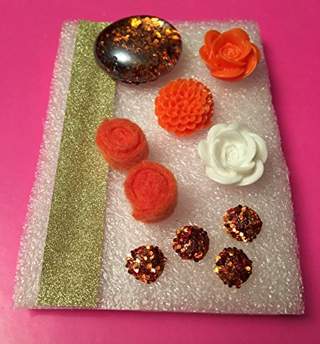 Orange Fabric Memo Board - Glass Tacks, Glitter Tacks, Felt Fabric,Resin Flowers, Memo Boards, Bulletin/Cork Board, Hostess Gifts, Flowers, Shades of Orange,Dorm Decor