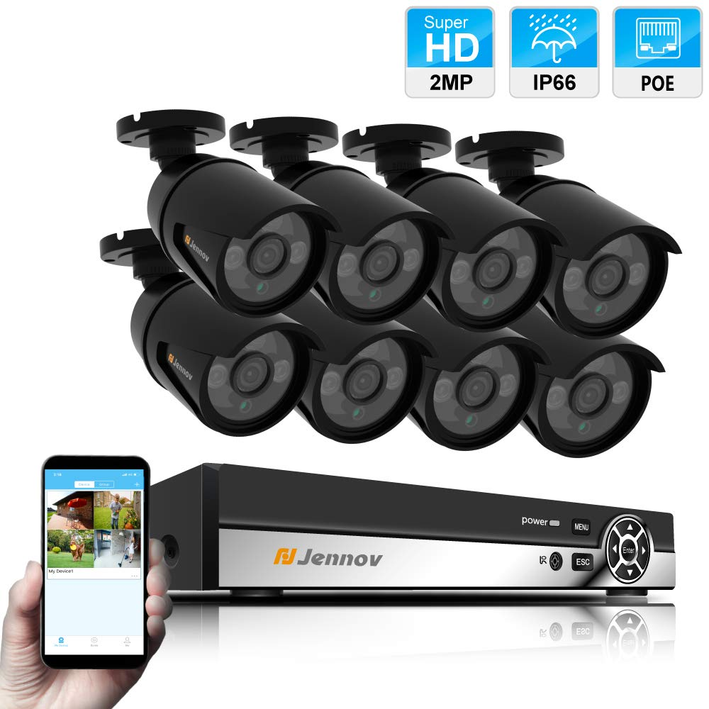 8 Channel POE Security Camera System,Jennov 3MP POE Security Camera System NVR Kit with 8 Outdoor Suveillance Camera 2MP HD Plug Play Free APP Motion Detection Night Vision for Home Business No HDD
