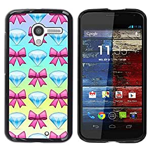 YOYOYO Smartphone Protección Defender Duro Negro Funda Imagen Diseño Carcasa Tapa Case Skin Cover Para Motorola Moto X 1 1st GEN I XT1058 XT1053 XT1052 XT1056 XT1060 XT1055 - la joya del diamante joya pajarita azul rosa