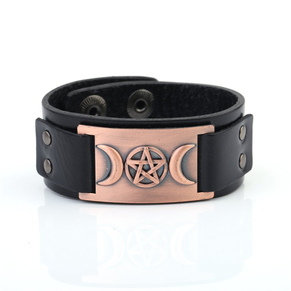Fishhook Wicca Religious Triple Moon Goddness Pentacle Cuff Bangle Leather Bracelet Black) GeXiang