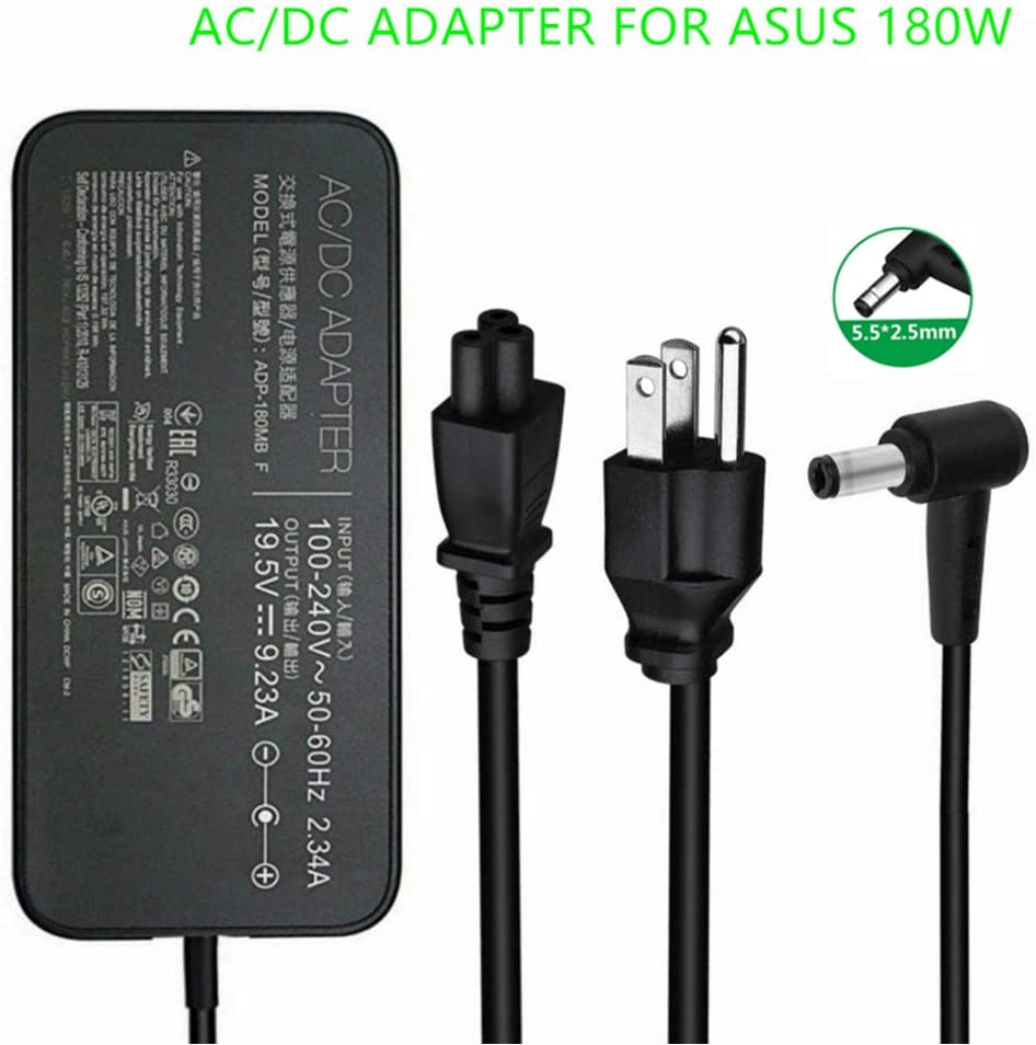 New 180W Laptop Charger FA180PM111 AC Power Adapter for Asus ROG G75 G75VW G75VX G751JL G751JM G752VL GL502VT G750JW G750JM G750JX G-Series Gaming Laptops