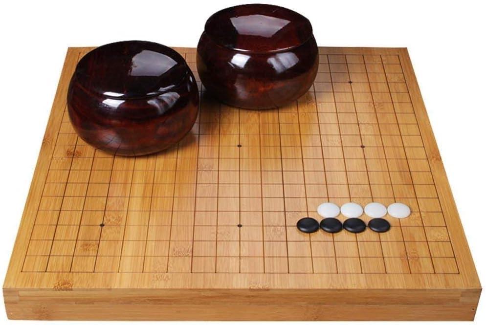 Lcxliga 行く大人の初心者の子供たちのために設定、竹両面チェスボードゴーチェスセット - クラシック中国の戦略ボードゲーム