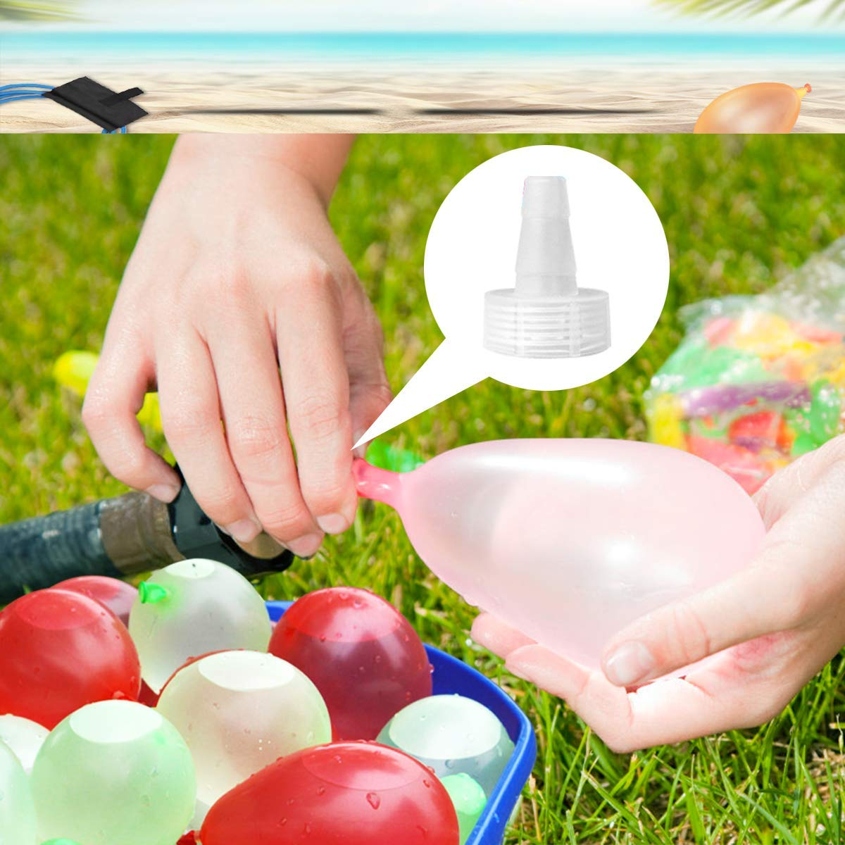 POKONBOY Water Balloon Launcher with 500 Water Balloons , 500 Yards Water Balloon Slingshot / Cannon / Launcher with 2 Refill Kits Fight Pool Party Toy, 3 Person Giant Angry Birds Summer Beach Games by POKONBOY (Image #4)