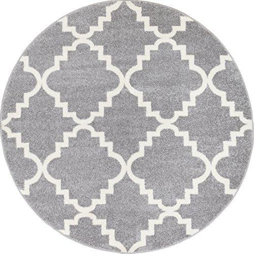 Grey Silver 5x5  Area Rug Trellis Morrocan Modern Geometric