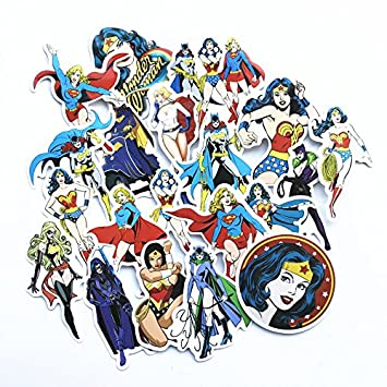Amazon.com: 20 Pcs/lot Wonder Woman Stickers Supergirl Cat ...