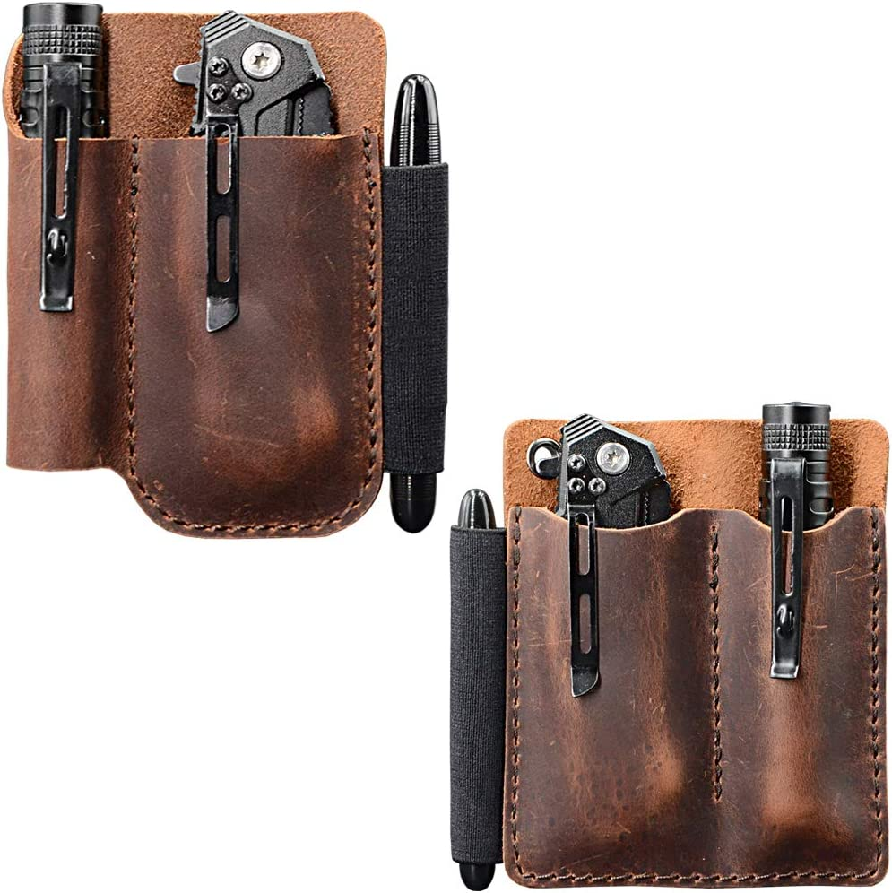 Tasche EDC Organizer Leder Slip Sheath mit 2 Taschen für Messer // Werkzeu e1j 1X
