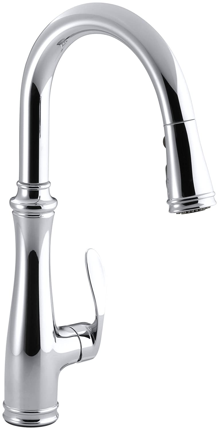 Kohler K-560-CP Bellera Pull-Down Kitchen Faucet, Polished Chrome, Single-Hole or Three-Hole Install, Single Handle, 3-function Spray Head, Sweep Spray and Docking Spray Head Technology