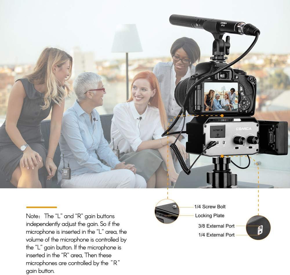 CoMica CVM-AX3 XLR Audio Mixer Adapter Preamplifier Compatible with Canon Nikon Sony Panasonic DSLR Camera