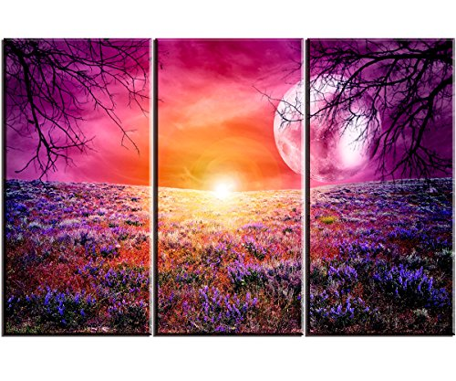 3 Piece Canvas Wall Art Set of Sunset, Moon and Lavender Sea, Ready to Hang Canvas Prints Wall Decor for Bedroom, 24