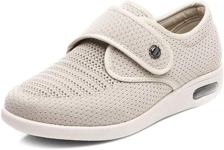 TAYIBO Botas ortopedicas,Zapatos de Edad Avanzada, Fondo Suave Antideslizante, Jianbu de Primavera y Verano, Zapatos hinchados de pie ligero-36_ Beige