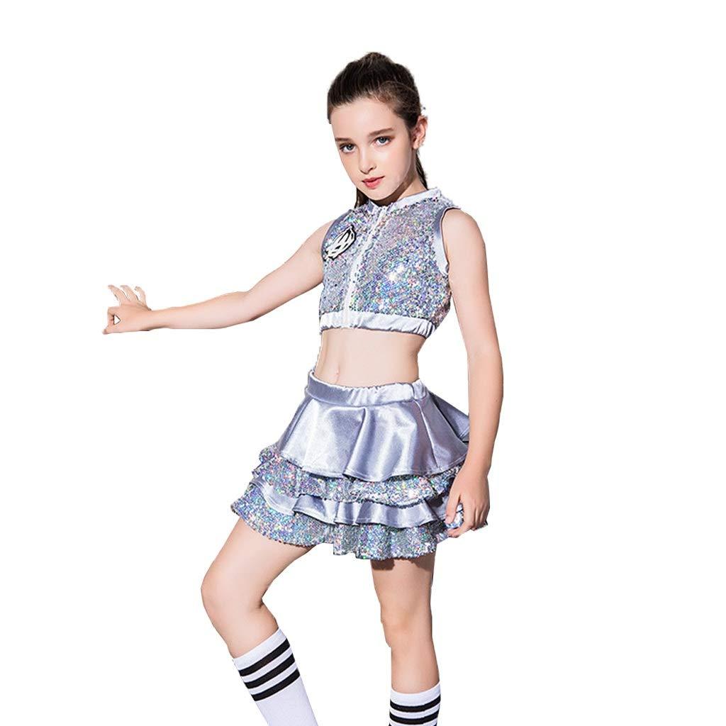 Uioy V/êtements for enfants Paillettes Hip Hop Jazz Danse du ventre Cheerleading Party Jupe de danse fille