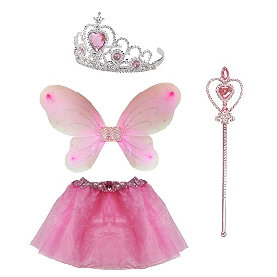 KIDS PINK TIARA AND WAND SET FAIRY ANGEL PRINCESS FANCY DRESS UP GIRLS PARTY