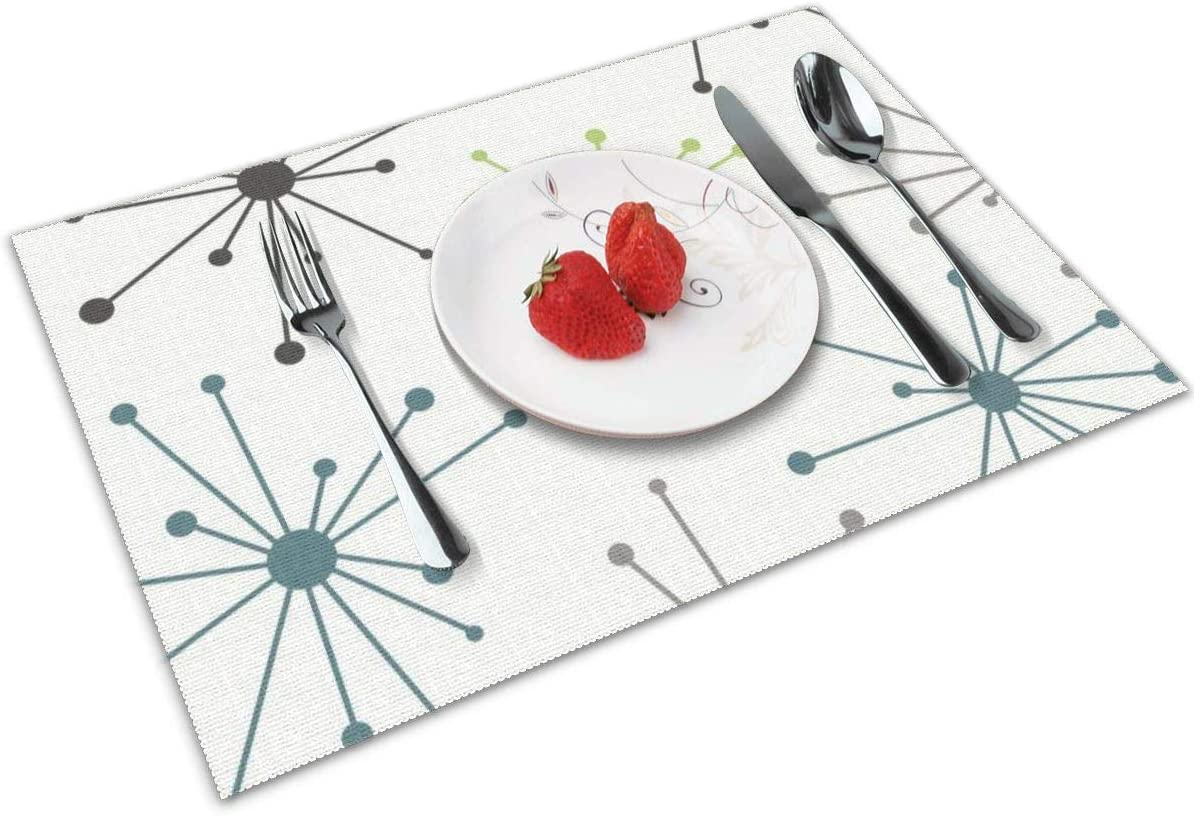 NBteach Mid Century Modern White Pot Dot 4 Piece Set of Placemats Pc Party Decor Dining Room Home Ornament Table Place Mat Patio Xmas Holidays Kitchen Decorations Themed Print Pattern