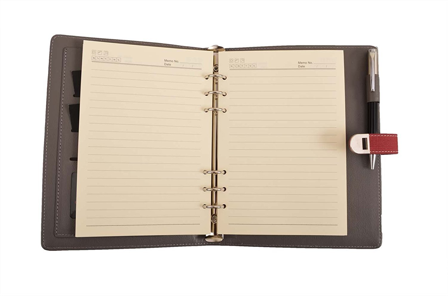 Coi Luxury Red Fabric unique best self journal business undated passion goal planner / daily diary & little more organizer/personal planner with pen with Free Pen