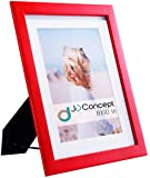 JD Concept 8x10 Soft-Red Wood Picture Frame with Glass Front, for Photo 6x8 with Mat or 8 x 10 Without Mat, Desk-top or…