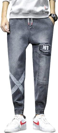 BeiBang(バイバン)ジーンズ メンズ デニムパンツ ゆったり 大きいサイズ テーパードパンツ ウエストゴム 原宿系 ジョガーパンツ デニム カジュアル ジーパン ファッション 切り替え Gパン