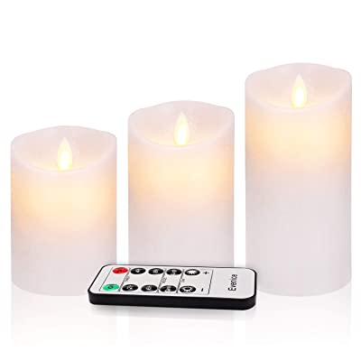 Evenice Flameless Candles Battery Operated Candles Flickering Light Pillar Real Smooth Wax with Timer and 10-Key Remote for Wedding Set of 3 (3 Pack Ivoy White, Wave Top): Home Improvement