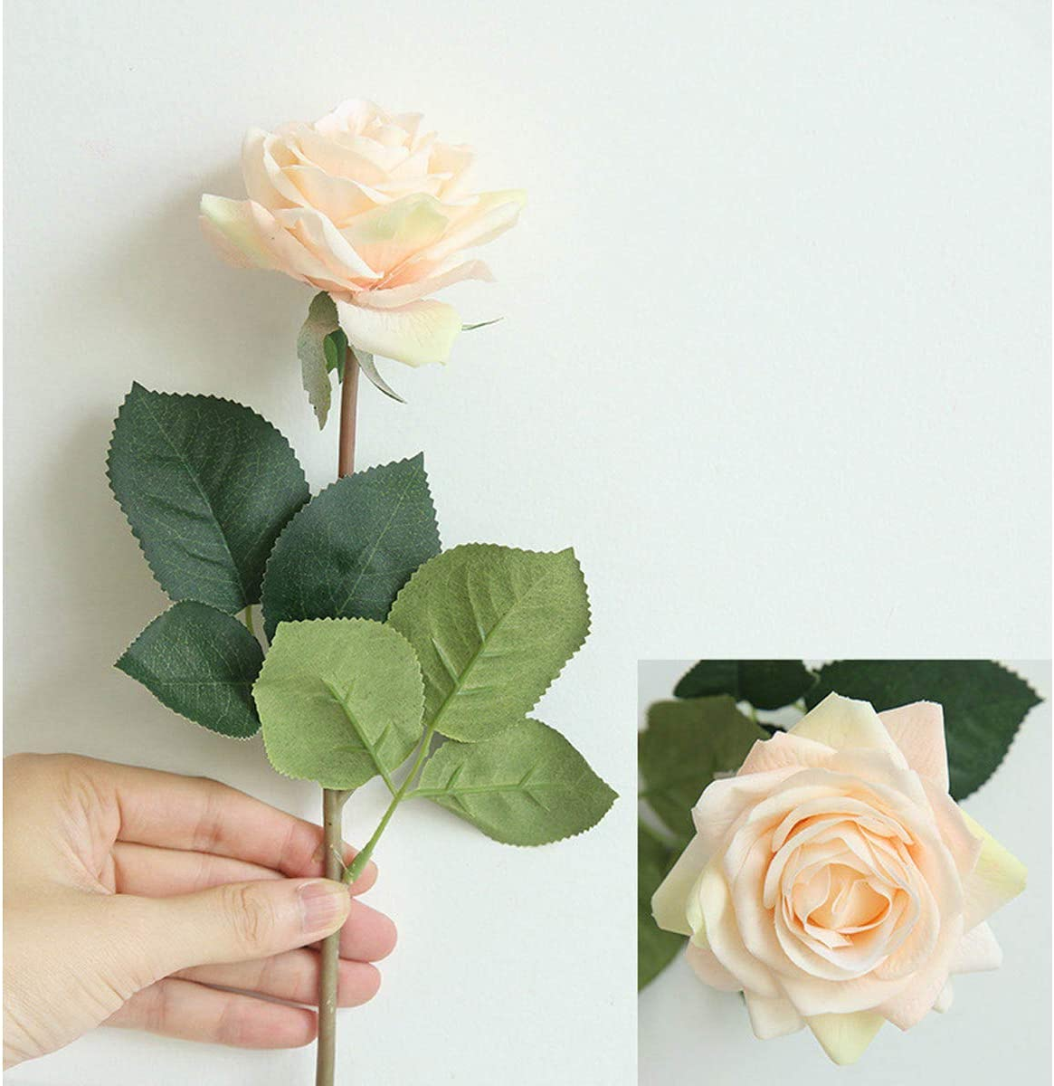 High Quaulity Latex Real Touch Rose Artificial Flower Bouquet for Wedding Holiday Bridal Bouquet Home Party Decor Bridesmaid (Champagne, 5)