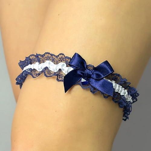 Liguero liga novia boda puntilla azul marino blanco regalo novia Swarovski Corazon