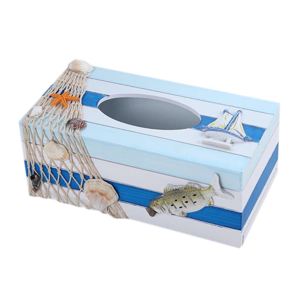 SUNONE11 Mediterranean Style Fish Wooden Tissue Box Fishing Shell Starfish Sailboat Nautical Decor Napkin Organizer Holder Rectangular Home Art Decoration by SUNONE11