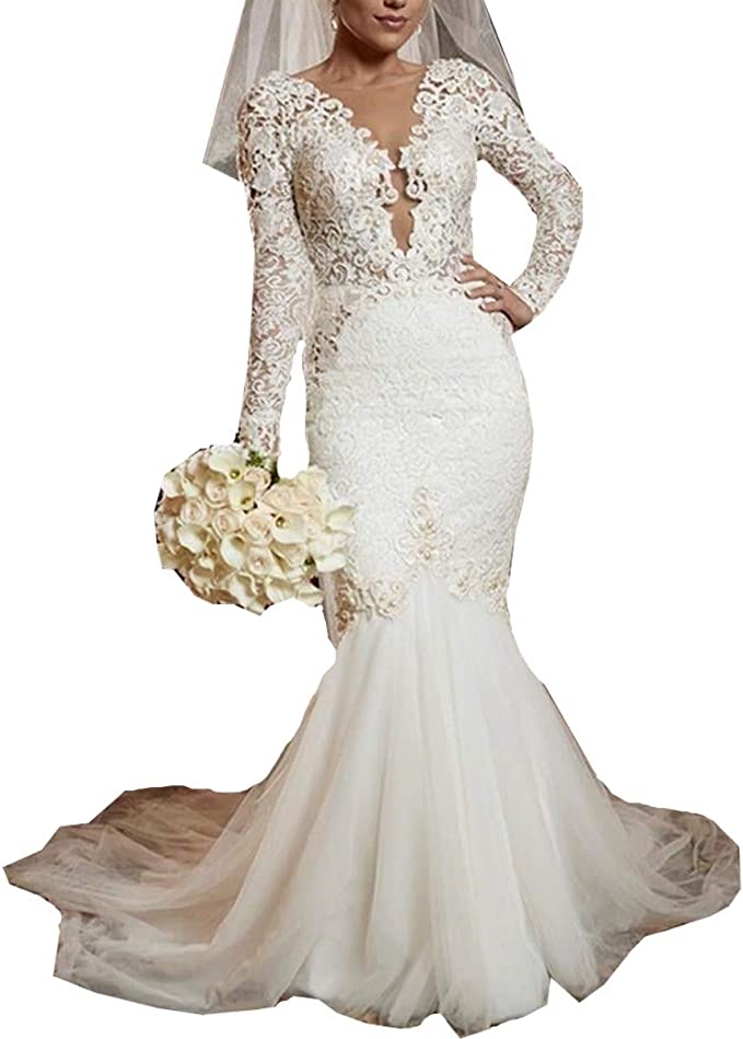 Beach Long Sleeves Backless Lace Beaded Corset Bridal Gowns with Train Mermaid Wedding Dresses for Bride