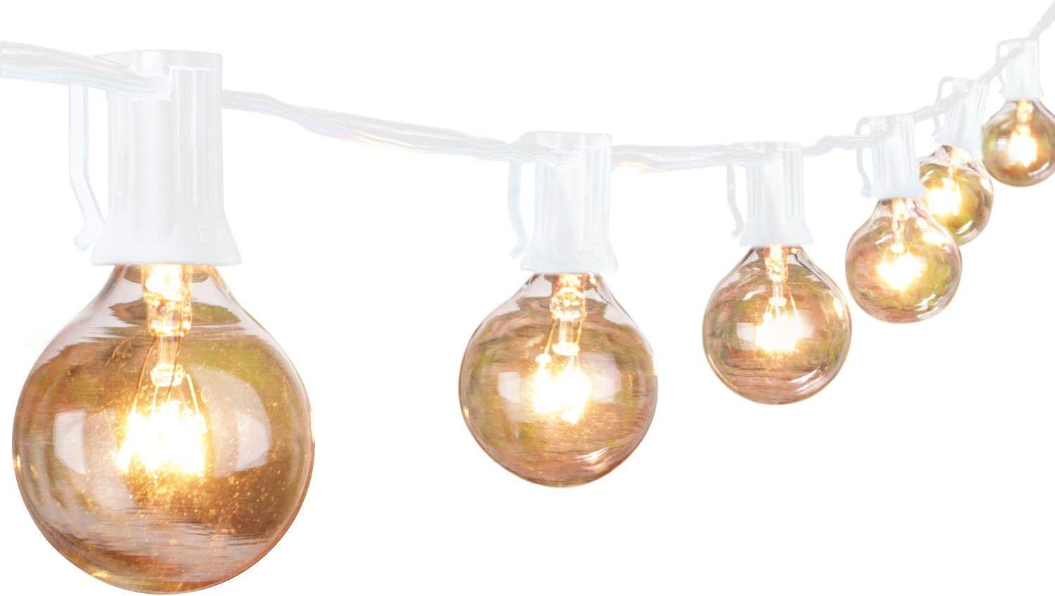 Brightown Outdoor String Light-25Ft G40 Globe Patio Lights with 26 Edison Glass Bulbs(1 Spare), Waterproof Connectable Hanging Light for Backyard Porch Balcony Deck Party Decor, E12 Socket Base, White