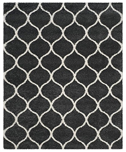 Safavieh Hudson Shag Collection SGH280G Dark Grey and Ivory Moroccan Ogee Plush Area Rug (10' x 14') (Area 14 10 X Rugs)