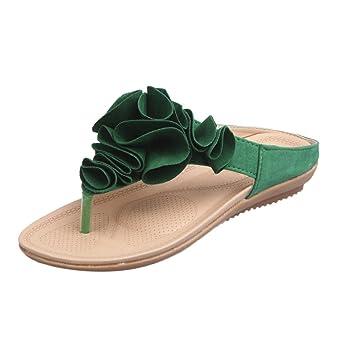 Damen Sandalen,Sannysis Sommer Strand Flipflops der Frauen Beiläufige Flache Schuhe Dame Pretty Floral Sandals Casual Aushöhlen Schuhe Flip Flops Schuhe Hausschuhe Böhmen (37, Grün)