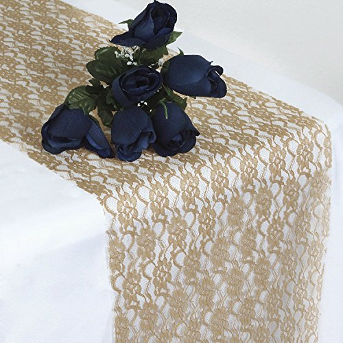 SARVAM FASHION Pack of 10 Wedding 12 x 108 inch Lace Table Runner for Wedding Banquet Decor Table Lace Runner - (10, Champagne)