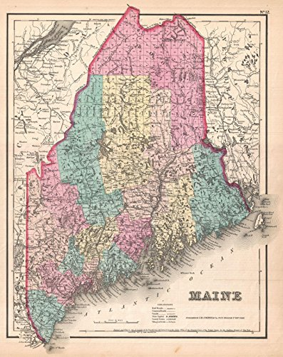 - Historical 1857 Colton Map of Maine | 24 x 30in Fine Art Print | Antique Vintage Map