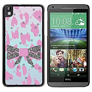 Paccase / SLIM PC / Aliminium Casa Carcasa Funda Case Cover - Pink Fur Pattern Leopard Bowtie - HTC DESIRE 816