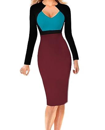 WOZNLOYE Damen Fashion V Neck Langarm Knielang Kleid Bleistiftkleid  Wickelkleider Elegant Farbe Spleißen Etui Kleider Festkleid Cocktailkleid  Abendkleider ... 814f44c589
