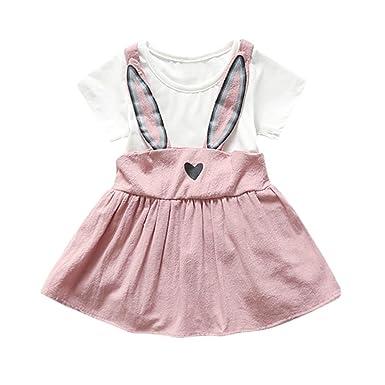 fe4284d13b42 Oksale Baby Girl s Newborn Rabbit Ear Heart Strap Dress Clothes ...
