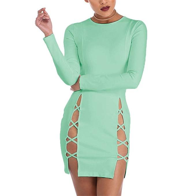 Amazon.com: Eloise Isabel Fashion Mulheres vestidos de moda abrir side lace up bandage dress festa à noite elegante longo de manga curta dress: Clothing