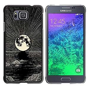 GOODTHINGS Funda Imagen Diseño Carcasa Tapa Trasera Negro Cover Skin Case para Samsung GALAXY ALPHA G850 - Luna dibujo a lápiz de mar de la noche de tinta