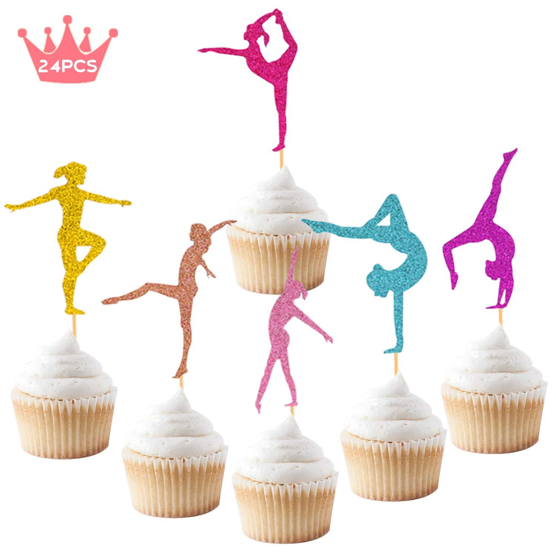 b9f047ed40ebb Gymnastics Cupcake Topper Gymnast Themed Cake Food Fruit Dessert Appetizer  Picks Girl Birthday Party...