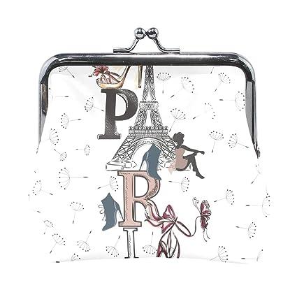 Monedero de Piel con diseño de Fondo de París: Amazon.es ...