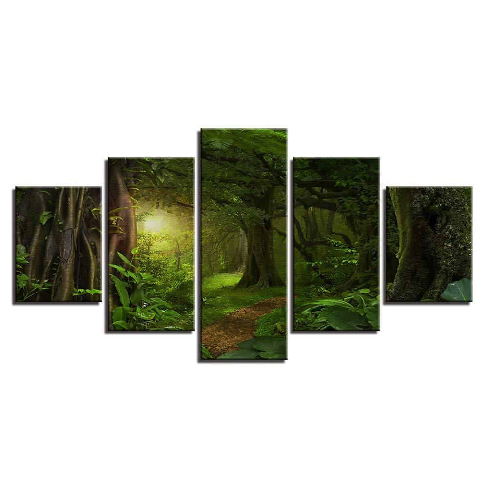 ahorra hasta un 70% Frame 20x35 20x45 20x55cm Giow Pintura de la la la Lona Modular Wall Art 5 Panel de la mañana la luz del Sol en el Bosque verde Fotos Impreso Selva Tropical Cochetel decoración del hogar  primera vez respuesta