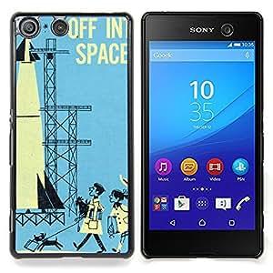 - Space Retro Vintage Kids Blue Rocket/ Duro Snap en el tel????fono celular de la cubierta - Cao - For Sony Xperia M5