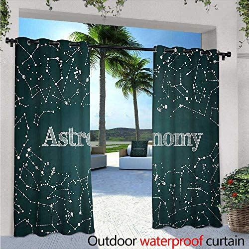 BlountDecor Constellation Outdoor Blackout Curtains Astronomy Class Scientific School Design Chalkboard Detailed Star Clusters Outdoor Privacy Porch Curtains W120 x L96 Green White ()