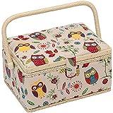 Hobby Gift MRM/29 Hiboux Conception Boîte à Coudre sur le Fond Naturel Moyen (18.5 x 26 x 15cm)